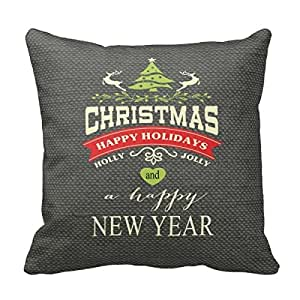 Christmas Vintage Deer Word Art Burlap Grey Custom Picture 18X18 Inch Square Cotton Decorative Throw Pillow Case Decor Cushion Covers