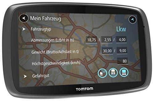 TomTom Trucker 5000 LKW-Navigationsgerät (13 cm (5 Zoll) kapazitives Touch Display, Sprachsteuerung, Click&Go-Halterung, Traffic/Lifetime LKW-Karten) schwarz