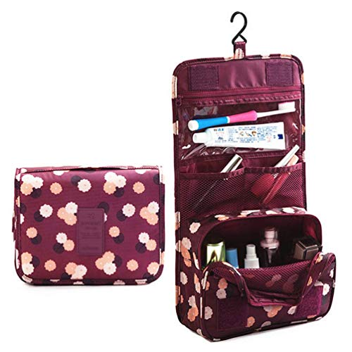 (ITraveller Portable Hanging Toiletry Bag/Travel Organizer Cosmetic for Women Makeup or Men Shaving Kit with Hanging Hook for Vacation, Wine Red Daisy)