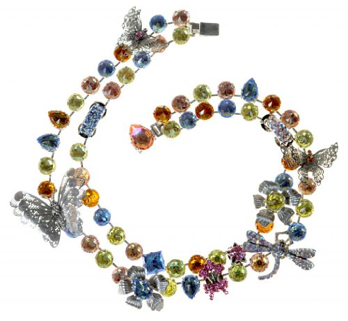 tal Necklace With Butterfly And Dragonfly Elements (Otazu Swarovski Crystal)