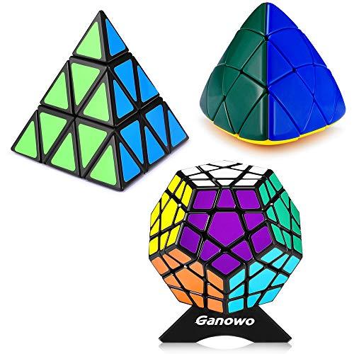 Ganowo Pyramid - Megaminx - Mastermorphix Triangle Cube Puzzle 3x3 Speed Magic Cube 3 in 1 Cube Set Black