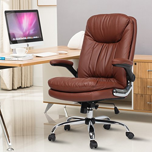 Yamasoro Executive Office Chair High Back Leather Desk Chair with Lumbar Support for Home Office Computer Chair