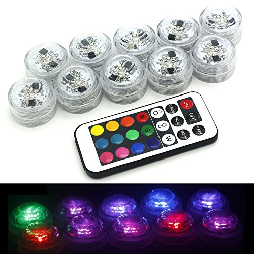 HOAEY Submersible Led Tea Lights with Remote Control Multi Color Changing Candles Underwater Mini Light Battery Operated Candle for Wedding Party Christmas Decorations 10 Pack
