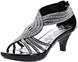Delicacy Womens Strappy Rhinestone Dress Sandal Low Heel Shoes