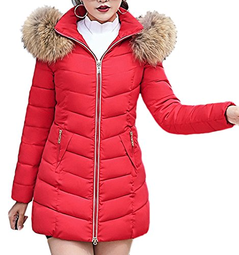 Larga Las Autumn Chaqueta Capucha sintética Winter Capucha Capucha con Invierno Parka Jacket de Piel Scothen Ladies Warm Coat Rojo Winter Parka Chaqueta señoras Acolchada wEadw1qx4
