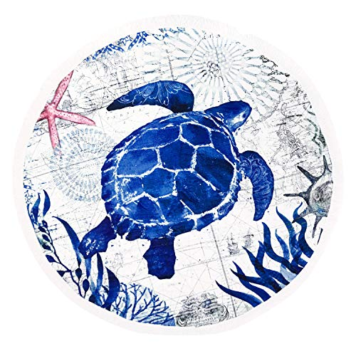 (Matawawa Animal Ocean Sea Turtle Large Thick Round Circle Beach Blanket Towel with Tassels, Suitable for Camping, Picnic, Yoga (Machine Washable, Ultra Soft, Super Water Absorbent) (Ocean Sea Turtle))