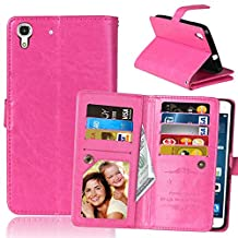 Huawei Y6 Case, Ngift Y6 Case [Wallet Function] PU Leather Folio Leather Stand Shell Flip Case Cover with 9 Cards Wallet for Huawei Y6/Honor 4A [Rose]