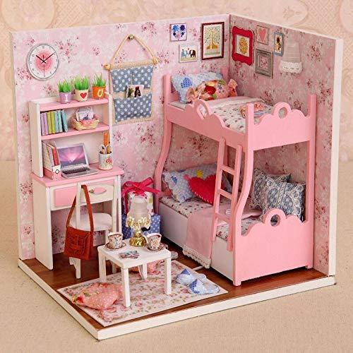 QAZX Mobili per Casa di Bambola Fatta A uomoo Mini Casa di Bambola Fai da Te Mini Casa di Bambola Giocattoli di Legno per Bambini Regalo di Compleanno per Adulti
