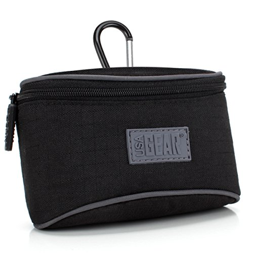 USA Gear Compact Digital Camera Case for Sony Cyber-shot DSC-HX80, RX100 V, Panasonic Lumix DMC-ZS100 and More - Impact Resistant Nylon, Accessory Pocket for Batteries and Cables, Belt Loop & Clip by USA Gear