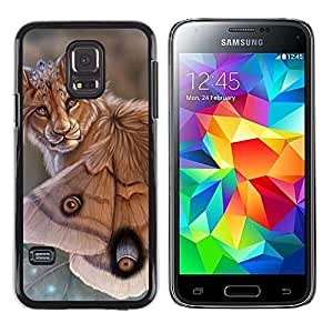 Paccase / SLIM PC / Aliminium Casa Carcasa Funda Case Cover - Lion Butterfly Nature Art Biotechnology Eyes - Samsung Galaxy S5 Mini, SM-G800, NOT S5 REGULAR!