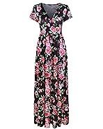 Styleword Women's Summer V neck Floral Maxi Long Dress