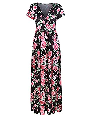 Styleword Women's Summer V neck Floral Maxi Long Dress