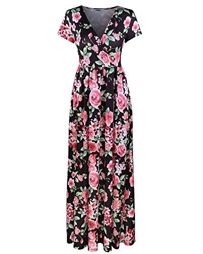 - STYLEWORD Women's Summer V Neck Floral Maxi Long Dress(Black,S)