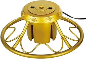 Home Heritage Rotating Christmas Tree Stand with Plug for Trees up to 9 Feet Tall, Gold