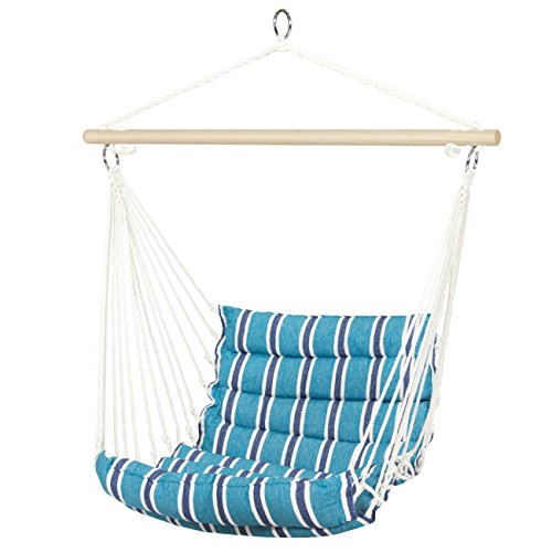 Best Choice Products Deluxe Padded Cotton Hammock Hanging Chair Indoor Outdoor Use- Blue Review