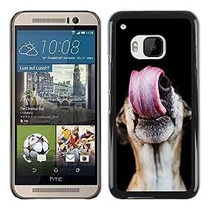 TopCaseStore / la caja del caucho duro de la cubierta de protección de la piel - Greyhound Tongue Lick Dog Mutt - HTC One M9