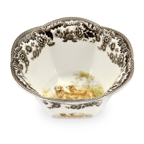 Spode Woodland Hunting Dogs Nut Bowl with Golden Retriever ()