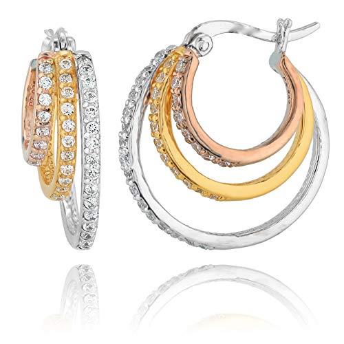 - PZ Paz Creations Tri- Color Sterling Silver Triple Hoop Cubic Zirconia Earrings