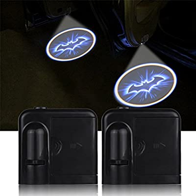 Houkiper 2pcs Universal Car Door Wireless Welcome Light LED Projector Logo Lamp Ghost Shadow Light Bat Man - Battery Operated: Automotive