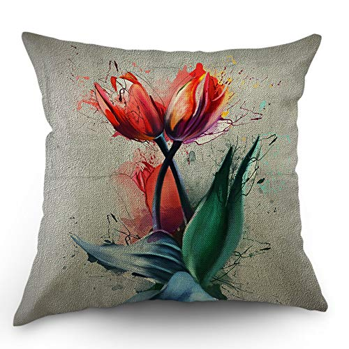 (Moslion Tulip Pillow Case Watercolor Flower Blossom Bouquet Floral Garden Leaves Throw Pillow Cover 18x18 Inch Cotton Linen Decorative Square Cushion Cover Happy New Year Sofa Bed Pink Green)