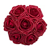 Ling's moment Artificial Flowers 50pcs Red Real Touch Artificial Roses for Bouquets Centerpieces Wedding Party Baby Shower Decorations DIY