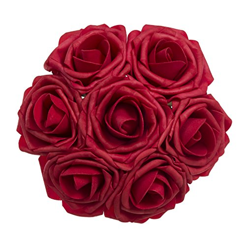 Ling's moment Artificial Flower Roses 50pcs Dark Red Real Looking Fake Roses w/Stem for Fall Wedding Bouquets Centerpieces Party Baby Shower Halloween Decorations Arrangements DIY