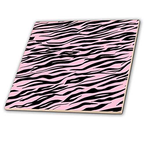 3dRose Uta Naumann Faux Glitter Pattern - Image of Trendy Girly Shiny Metal Chic Pink And Black Tiger Fur - 6 Inch Glass Tile (ct_315375_6) ()