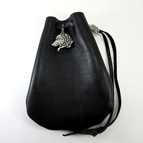 Black Leather Drawstring Pouch with Wolf Pewter Accent (Dice Costumes)