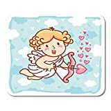 """Nakamela Mouse Pads Cute Cupid Baby Angel Character with Wings Bow and Arrow on Blue Clouds Romantic Love in Cartoon Doodle Mouse mats 9.5"""" x 7.9"""" Mouse pad Suitable for Notebook Desktop Computers"""