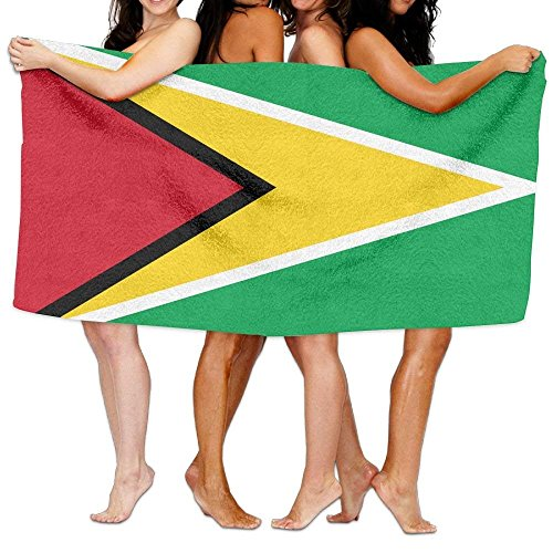Beach Towel Flag Of Guyana 80'' X 130'' Soft Lightweight Absorbent For Bath Swimming Pool Yoga Pilates Picnic Blanket Towels by Pillow Hats