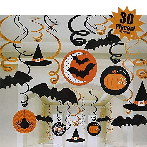 Halloween Trick or Treaty Party Decor Dangling Swirls Spiral Hanging Pendants Set Ghost Witch Spider Bat Pumpkin Skull Decorations Description -