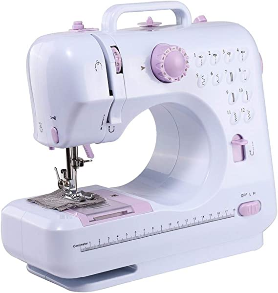 Mini Electric Sewing Machine Portable Household Sewing Machine Beginner Tailors Free-Arm Crafting Mending Machine for DIY Crafting (Without Table