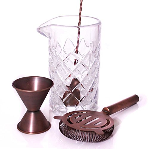 BarConic Antique Copper & Diamond Pattern 22 oz Mixing Set -