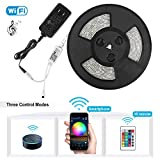 Nexlux Led Light Strip, WiFi Wireless Smart Phone Controlled Strip Light Kit White PCB 5050 LED Lights,Working with Android and iOS System,IFTTT