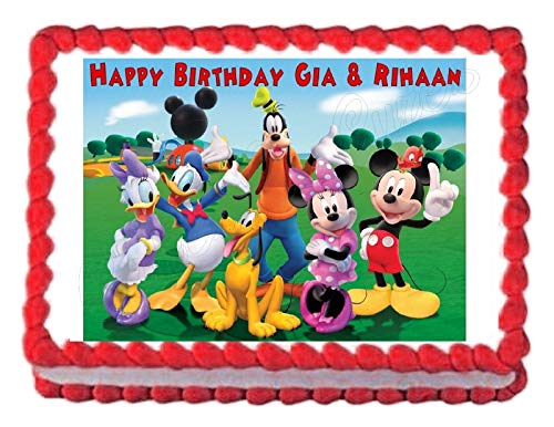 Mickey Mouse Clubhouse Edible Cake Topper Sugar 1/4 Sheet Cake Decoration Image -