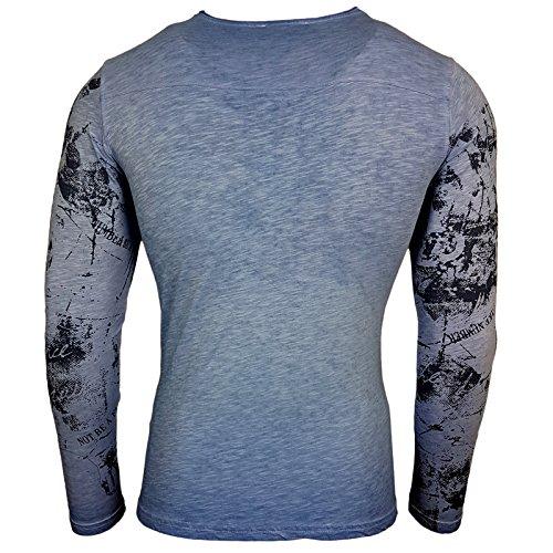 Style Mix 10130 Tee Longues Sax Shirt 101 Coupe Modèle Manches Imprimé Homme xx1ZAq