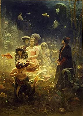 Demonology, Witchcraft, Occult & Magick SADKO IN THE UNDERWATER KINGDOM by IIya Repin, Russia c1876 250gsm A3 Gloss Art Card Reproduction Poster by World of Art