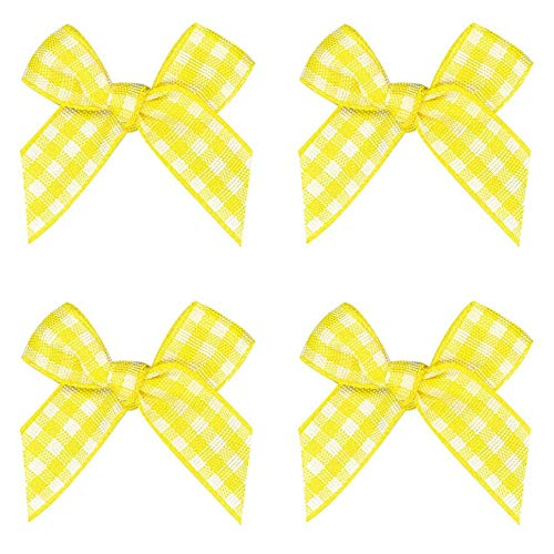 50pcs Mini Gingham Ribbon Bows Checkered Ribbon Flowers Plaid Ribbon Bow Appliques DIY Craft for Sewing, Scrapbooking, Wedding, Gift (Yellow and White)