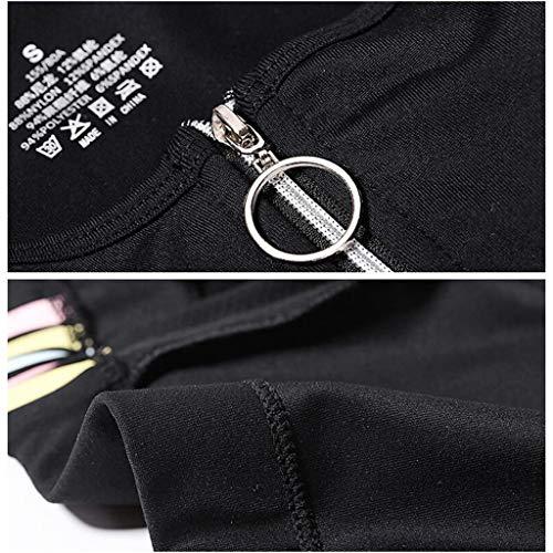 Rxy Donna Black Steel Yoga Fitness Vest Ring M Size color Sportivi Black No Sportivo Reggiseni Front Reggiseno Underwear Zipper 1wWqBrU1X