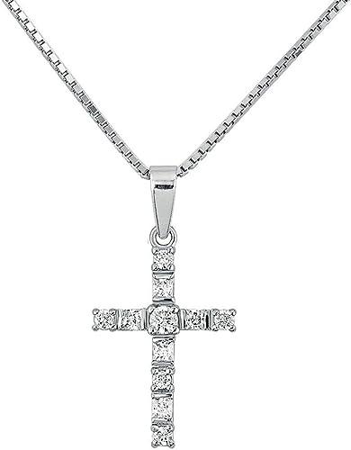 Amazon Com Ev Yi Jewels Crystal Cross Necklace Simple Elegant 925