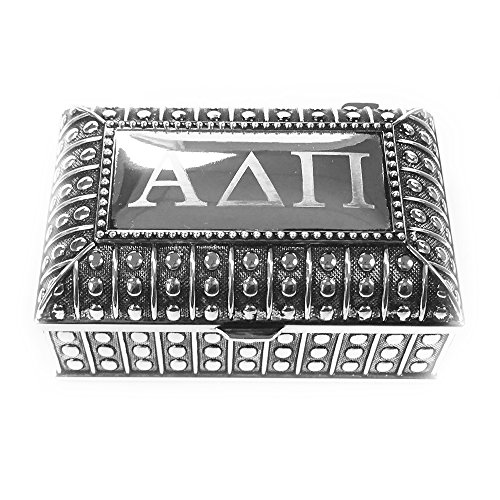 Alpha Delta Pi Engraved Pin Box Sorority Greek Decorative Trinket Case Great for Rings, Badges, Jewelry Etc. (Beaded Chest Pin - Tiffany Oval Key