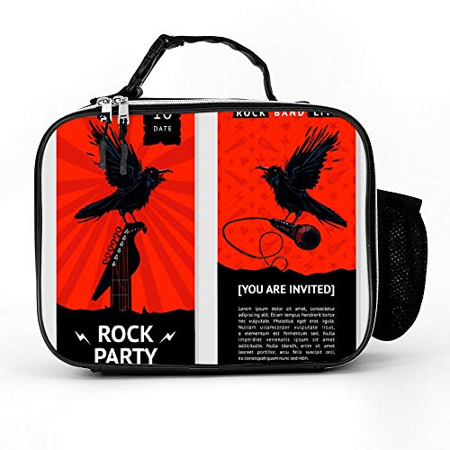 Welkoom Insulated Lunch Bag Lunch Box Cooler Bag With Rock Music Flyer Concert Invitation With Bird For Men Women -