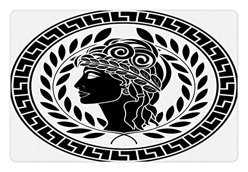 - Ambesonne Toga Party Pet Mat for Food and Water, Roman Elegance Beauty Muse Portrait Patrician Woman Old Fashion Aesthetic Icon, Rectangle Non-Slip Rubber Mat for Dogs and Cats, Black White