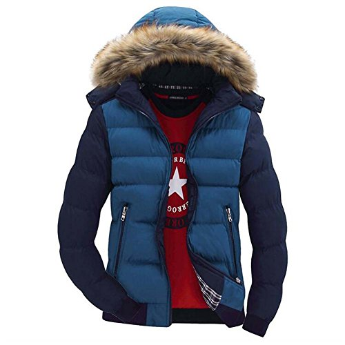 Folta Invernali Da Luce Calda Giacca Scuro Pelliccia Cappotti Cappuccio Yuxin Parka Uomo Blu Con Outwear Finto gdwvaq