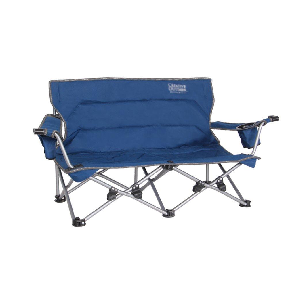 WUPO Outdoor-Freizeit-Klappstuhl - Doppel-Stuhl, Zu Hause Doppel-Camping-Grill Strandkorb Tragbare Oxford Tuch Stuhl Bett, Lagergewicht 180kg