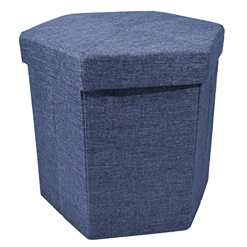 Upholstered Collapsible Hexagon Storage Ottoman with Padded Seat, Folding Bench and Foot Rest, Faux Linen, Navy, 15-inch