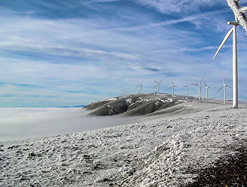 Home Comforts LAMINATED POSTER Sky Energy Snow Turbine Power Wind Farm Cold Poster 24x16 Adhesive Decal