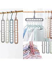 4 Pack Closet Organizers and Storage Multifunctional Closet Organizer Magic Space Saving Hangers with 9 Holes Closet Storage Organization for Wardrobe Heavy Clothes,Shirts,Pants,Dresses,Coats