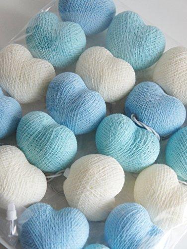 Design by UnseenThailand Handmade Heart Cotton Ball String Lights Decoration (3metre 20 Globes/pack) Decor Wedding Bedroom Garden Spa and Holiday Lighting. (Blue - Light Blue - White)