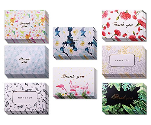 Thank You Cards Floral Greeting Cards,40 Pack Assorted Flower Cards with Envelopes,8 Designs Postcard Style Blank on Inside Cards for Wedding Graduation Party